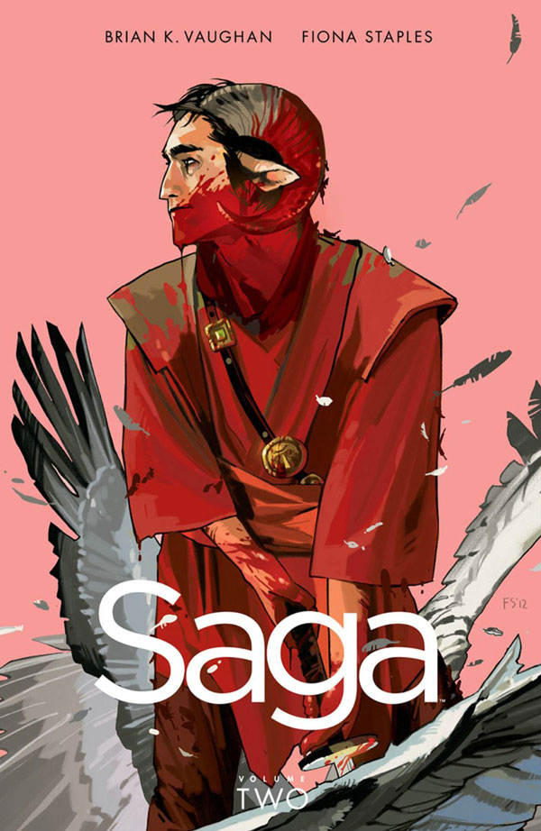 """Saga Vol 2: Brian K. Vaughan/Fiona Staples (Image Comics). Saga gets lauded a lot, but really it's just the equivalent of sixth-form poetry for sad Goths and Warhammer players. """"Please shoot it in my twat"""" - I mean; seriously? Do you know anyone who talks like this? Even the baby is obnoxious."""