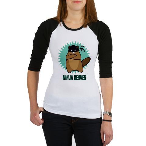 Ninja Beaver Baseball Shirt - womens