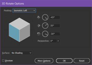Ninja Beaver - Illustrator 3D Rotate dialogue