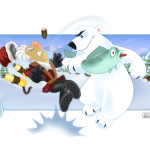 Polar slapping a trapper with a fish