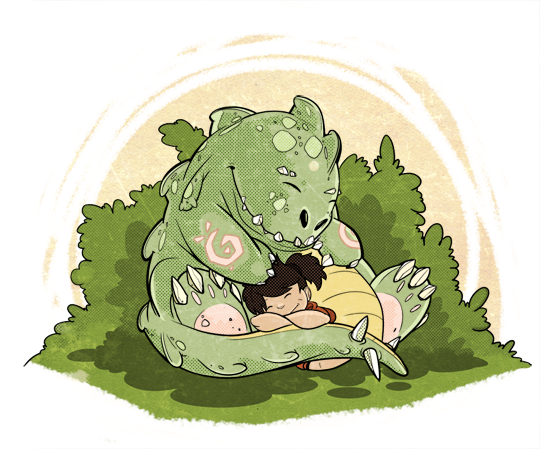 Sleeping Dragon Illustration - Manga Studio and Photoshop