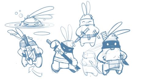 Toki the Samurai Bunny sketches