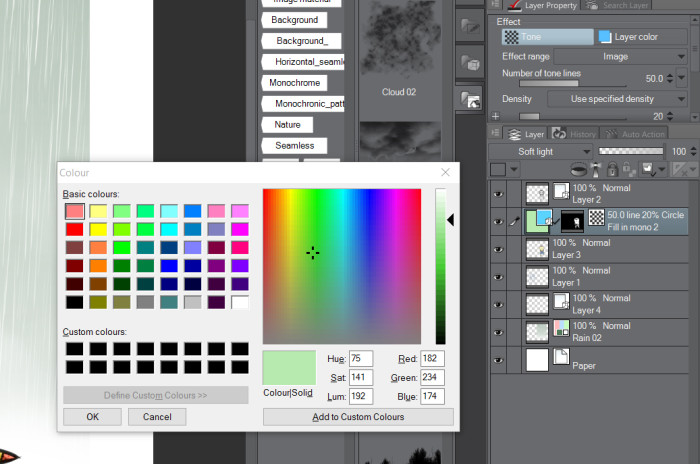 Manga Studio 5 EX layer Palette