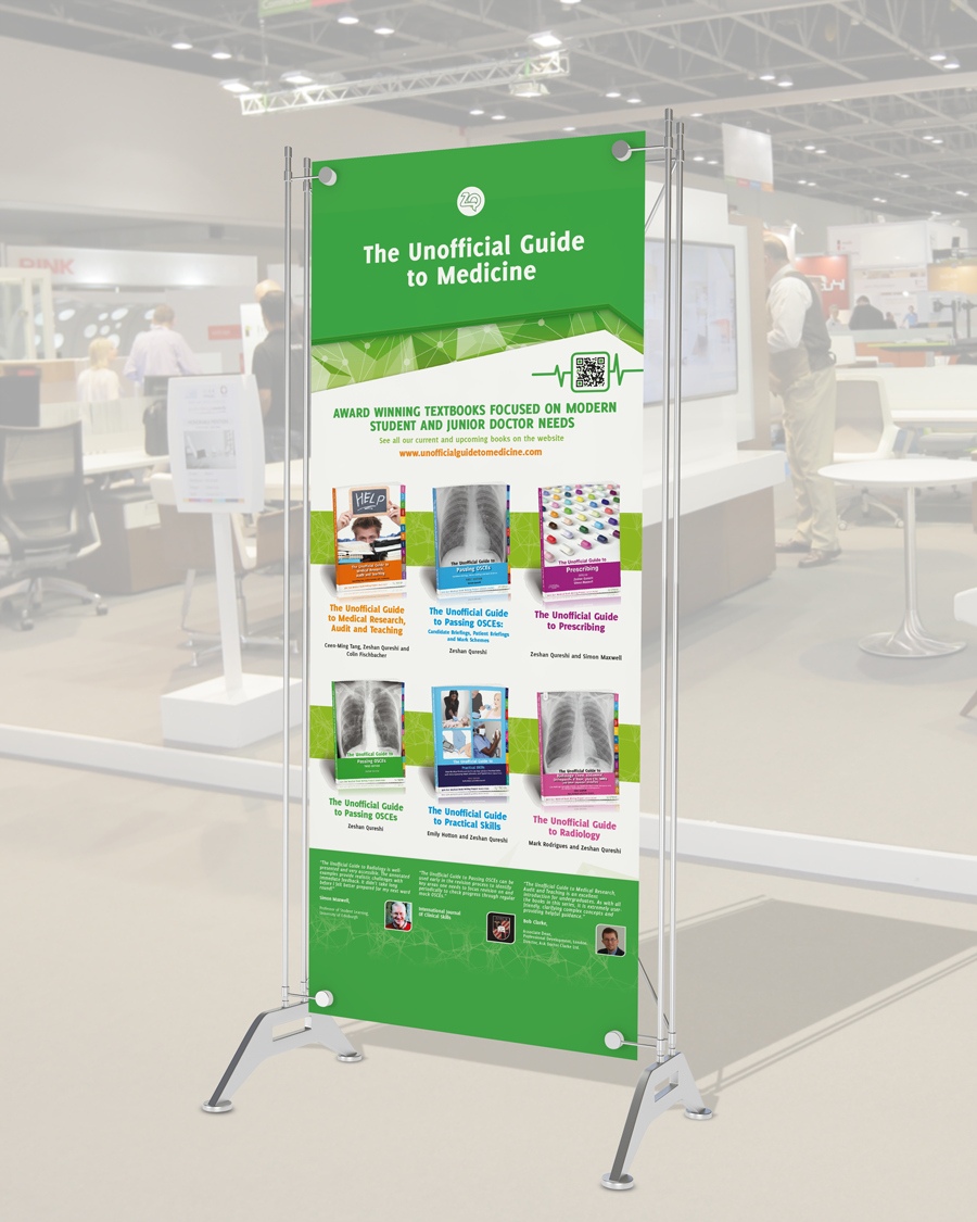 Unofficial Guide to Medicine print design exhibition stand