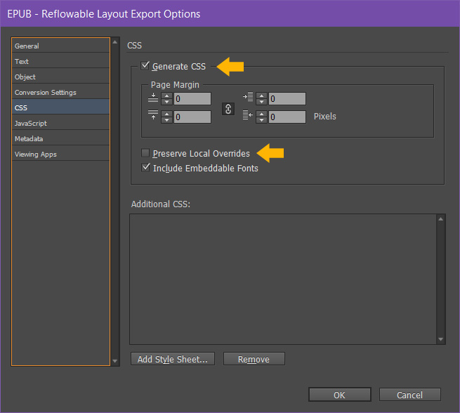 Indesign epub export options generate css dialogue box